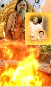 Bhagawan Sri Sathya Sai Baba showed His divine presence in the fire during the homa performed by Sri Gopal Baba in Soma Sai Skanda Ashram Monday January 29th